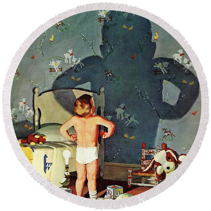 Boys Round Beach Towel featuring the drawing Big Shadow, Little Boy by Richard Sargent
