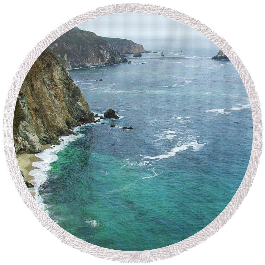 California Round Beach Towel featuring the photograph Big Sur Ocean Views by Stefan Mazzola