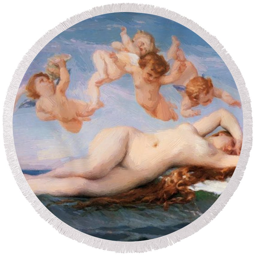 Birth Round Beach Towel featuring the painting Birth Of Venus 1863 by Cabanel Alexandre