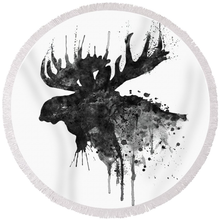 Moose Round Beach Towel featuring the painting Black and White Moose Head Watercolor Silhouette by Marian Voicu