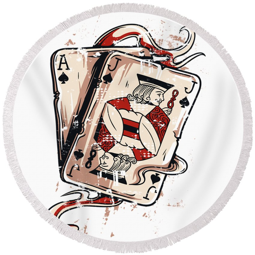 Card-games Round Beach Towel featuring the digital art Blackjack by Passion Loft
