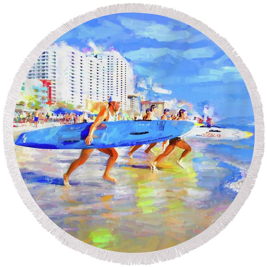 Alicegipsonphotographs Round Beach Towel featuring the photograph Blue Board Fast Into Ocean by Alice Gipson