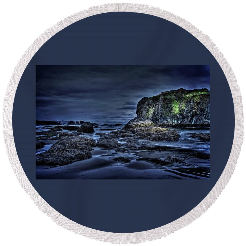 Round Beach Towel featuring the photograph Blue Hour At Bandon Beach by Thom Zehrfeld