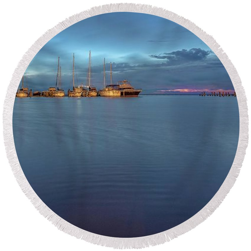 Landscape Round Beach Towel featuring the photograph Blue Hour by David Pine