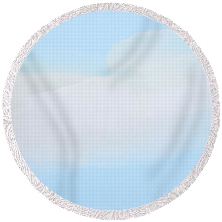 Abstract Round Beach Towel featuring the painting Blue Skies Ahead by Claire Desjardins
