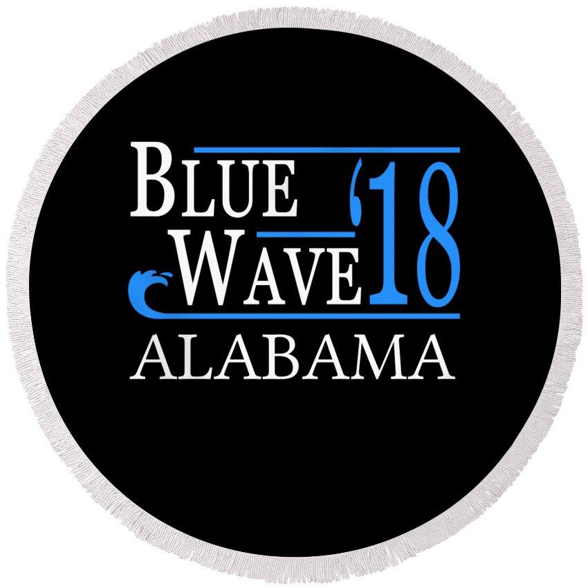 Election Round Beach Towel featuring the digital art Blue Wave Alabama Vote Democrat 2018 by Flippin Sweet Gear