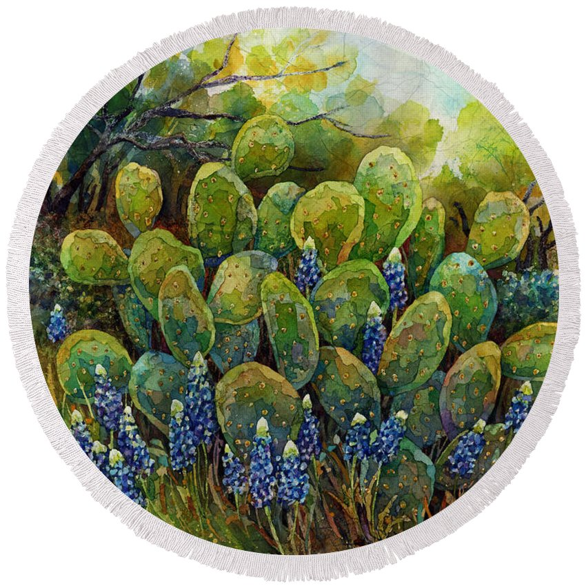 Cactus Round Beach Towel featuring the painting Bluebonnets And Cactus 2 by Hailey E Herrera