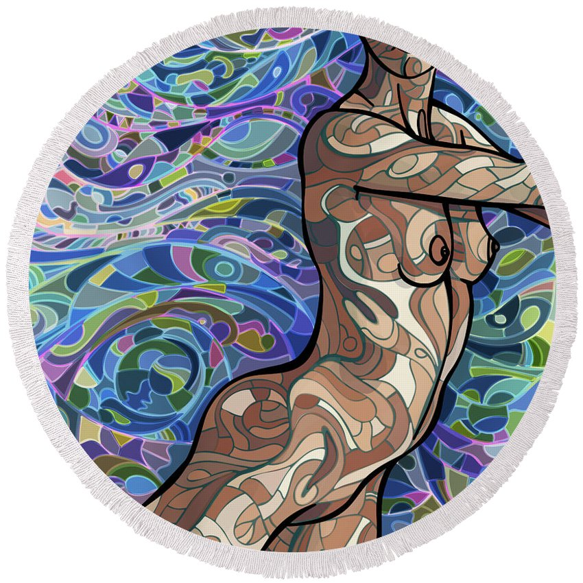 Figurative Round Beach Towel featuring the digital art Body of Thought #4 by James Fryer