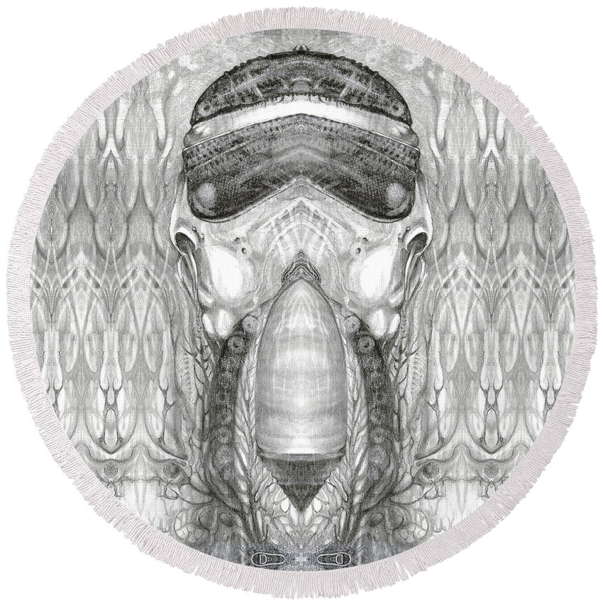 Fantasy; Surreal; Drawing; Otto Rapp; Art Of The Mystic; Michael Wolik; Photography; Bogomil Variations; Round Beach Towel featuring the digital art Bogomil Variation 1 by Otto Rapp