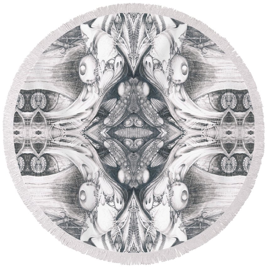 Fantasy; Surreal; Drawing; Otto Rapp; Art Of The Mystic; Michael Wolik; Photography; Bogomil Variations Round Beach Towel featuring the digital art Bogomil Variation 10 by Otto Rapp