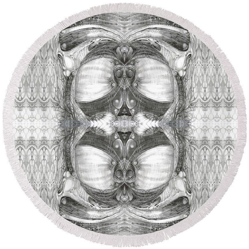 Fantasy; Surreal; Drawing; Otto Rapp; Art Of The Mystic; Michael Wolik; Photography; Bogomil Variations Round Beach Towel featuring the photograph Bogomil Variation 2 by Otto Rapp