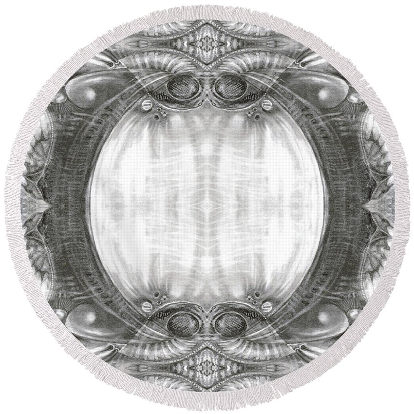 Fantasy; Surreal; Drawing; Otto Rapp; Art Of The Mystic; Michael Wolik; Photography; Bogomil Variations Round Beach Towel featuring the digital art Bogomil Variation 3 by Otto Rapp