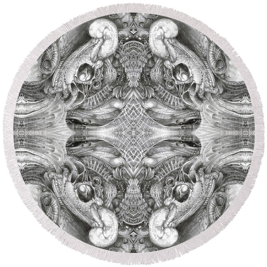 Fantasy; Surreal; Drawing; Otto Rapp; Art Of The Mystic; Michael Wolik; Photography; Bogomil Variations Round Beach Towel featuring the digital art Bogomil Variation 5 by Otto Rapp