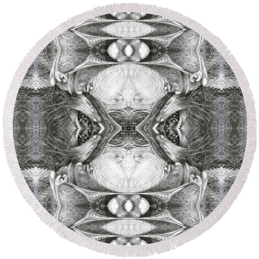 Fantasy; Surreal; Drawing; Otto Rapp; Art Of The Mystic; Michael Wolik; Photography; Bogomil Variations Round Beach Towel featuring the digital art Bogomil Variation 7 by Otto Rapp