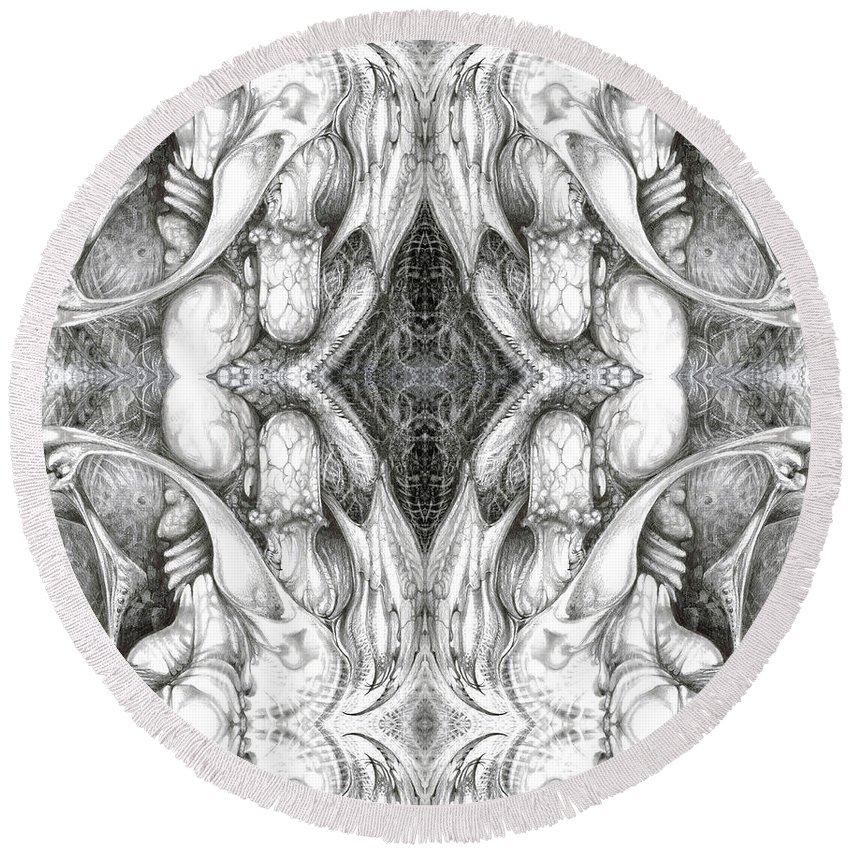 Fantasy; Surreal; Drawing; Otto Rapp; Art Of The Mystic; Michael Wolik; Photography; Bogomil Variations Round Beach Towel featuring the digital art Bogomil Variation 8 by Otto Rapp