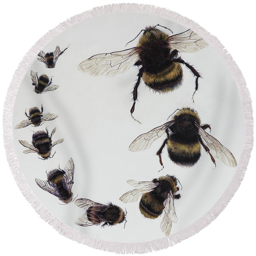 Nature Round Beach Towel featuring the painting Bombus by Odile Kidd