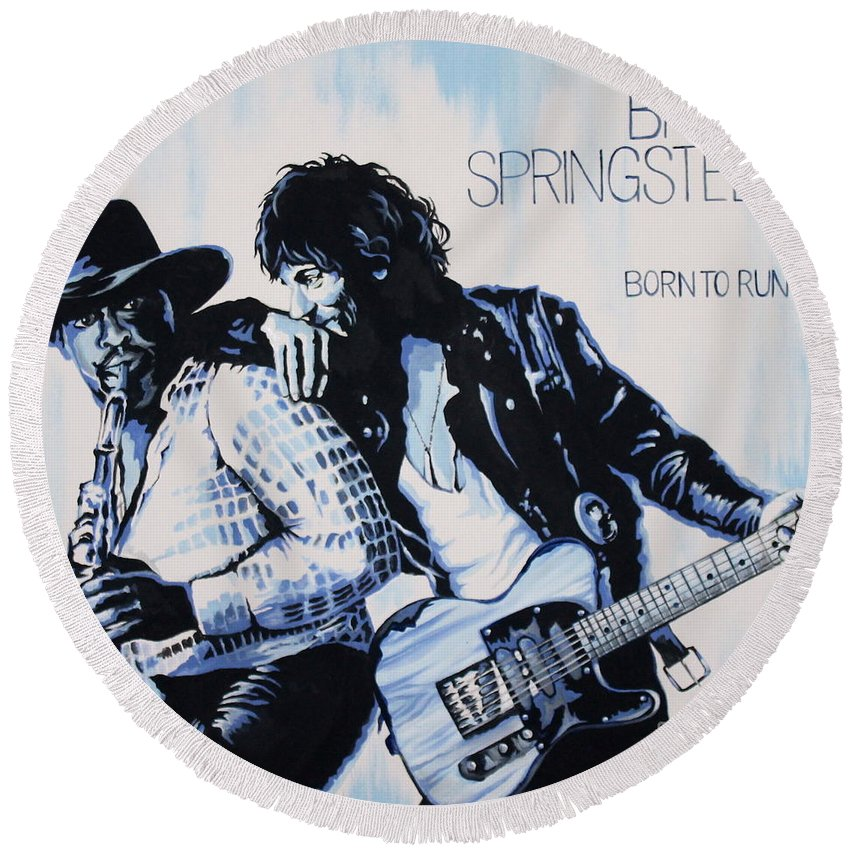 Bruce Springsteen Round Beach Towel featuring the painting Born to Run Bruce Springsteen by Amy Belonio