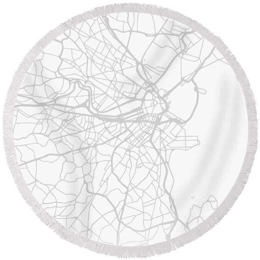 Boston Round Beach Towel featuring the mixed media Boston Massachusetts City Street Map Black And White Minimalist Series by Design Turnpike