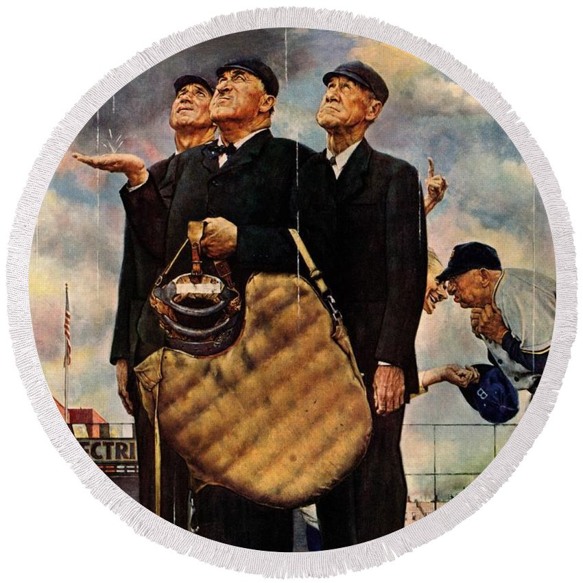 Baseball Round Beach Towel featuring the drawing Bottom Of The Sixth by Norman Rockwell