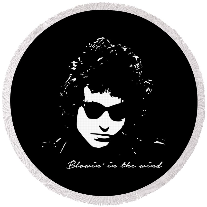 Bob Dylan Round Beach Towel featuring the digital art Bowin' In The Wind by Filip Schpindel