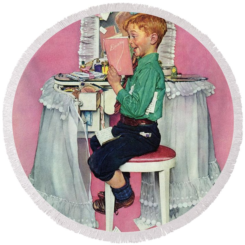 Boy Round Beach Towel featuring the drawing boy Reading His Sister's Diary by Norman Rockwell