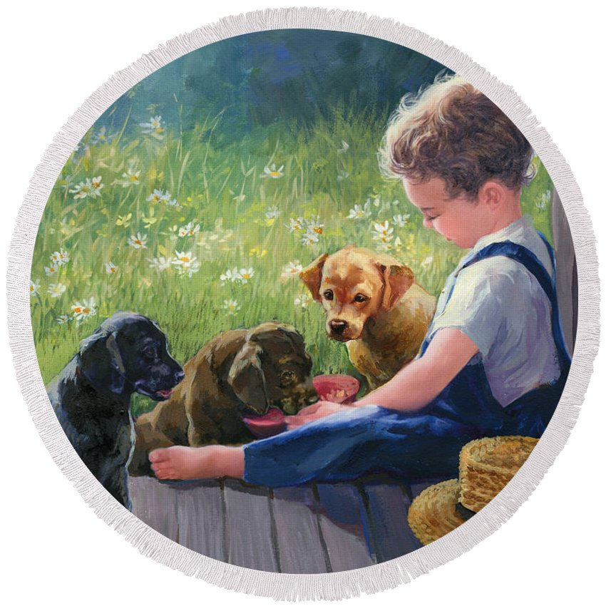 Dogs Round Beach Towel featuring the painting Breakfast Buddies by Laurie Snow Hein
