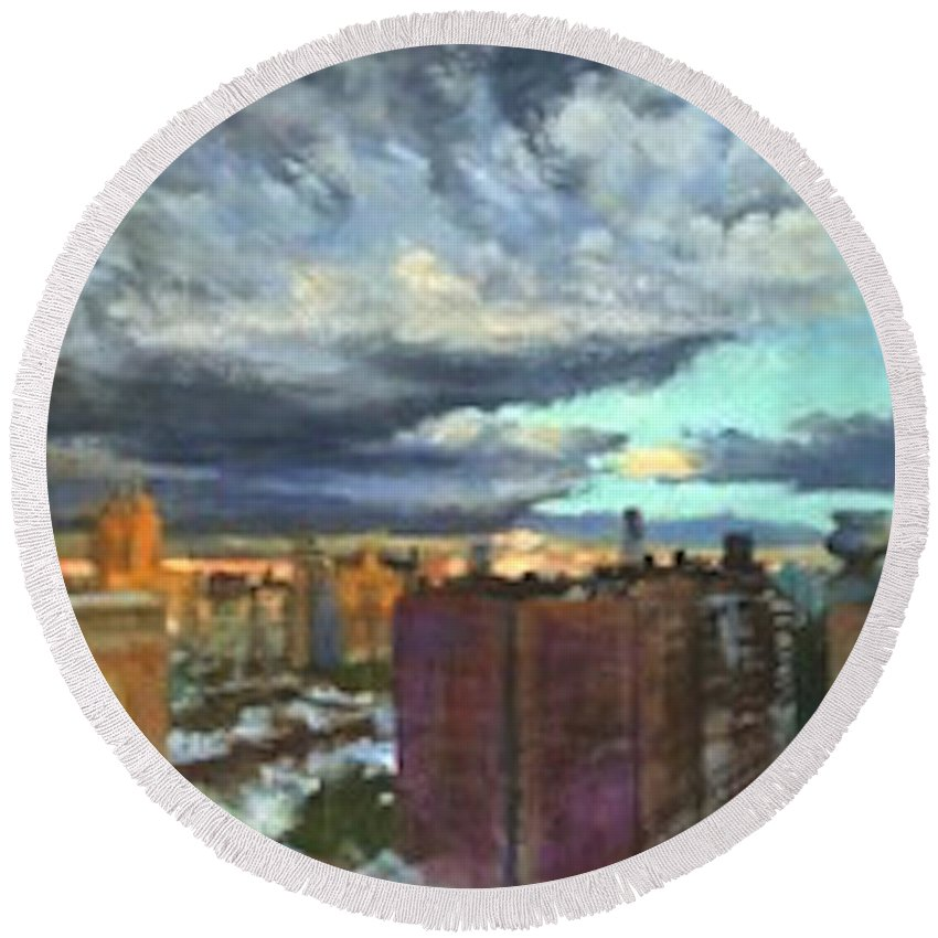 New York Round Beach Towel featuring the painting Breaking Clouds At Sunset by Peter Salwen