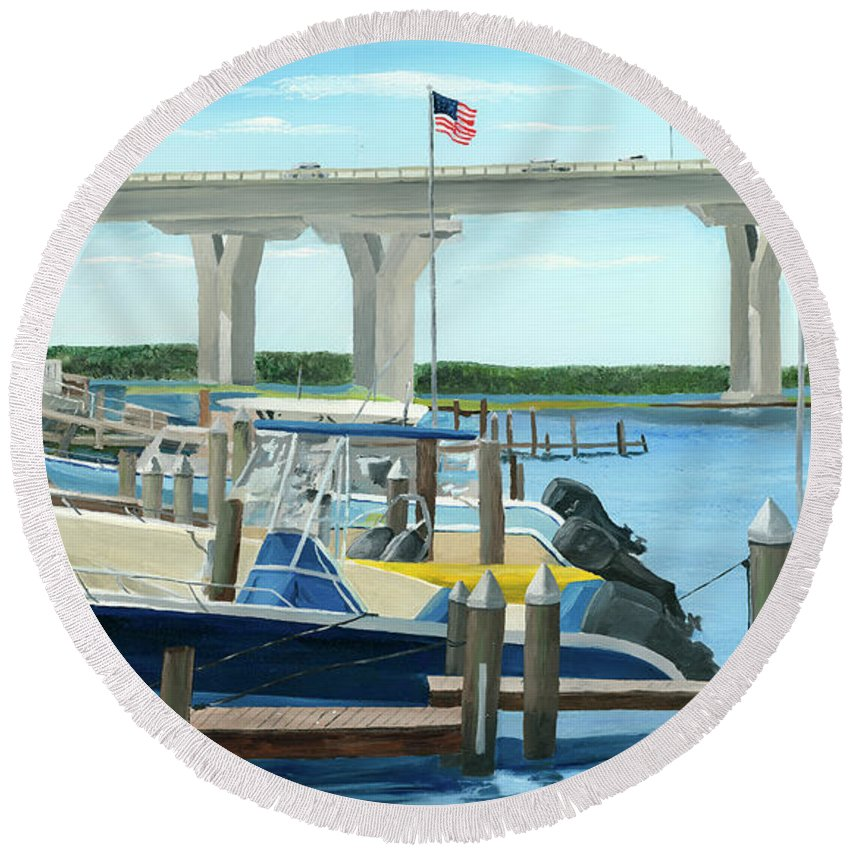 Bridge Round Beach Towel featuring the painting Bridge To Summer II by Rick Lang