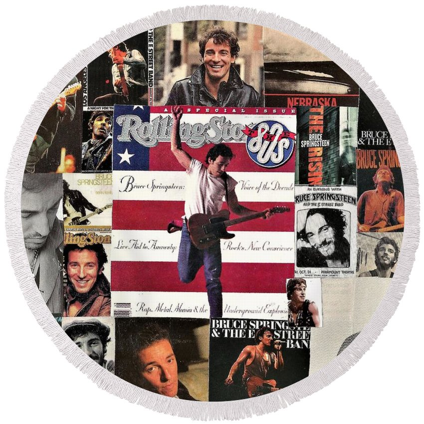 Collage Round Beach Towel featuring the digital art Bruce Springsteen Collage 1 by Doug Siegel