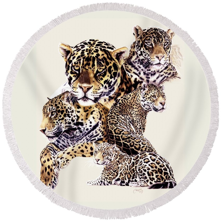 Jaguar Round Beach Towel featuring the drawing Burn by Barbara Keith