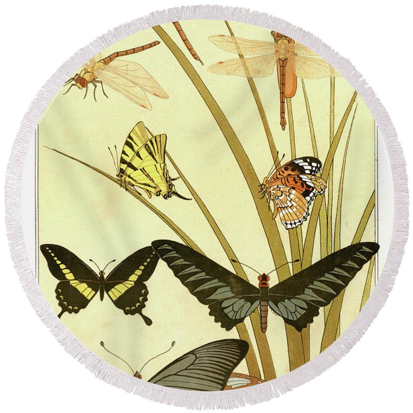 Papillons Round Beach Towel featuring the drawing Butterflies By Maurice Pillard Verneuil by Maurice Pillard Verneuil