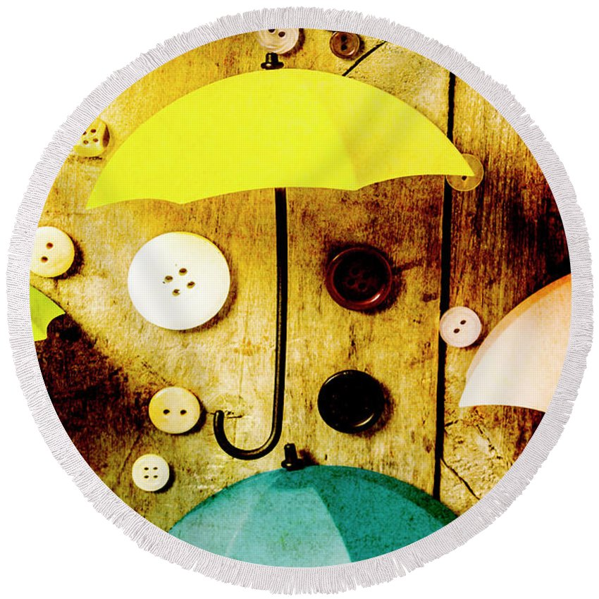 Button Round Beach Towel featuring the photograph Button Storm by Jorgo Photography - Wall Art Gallery
