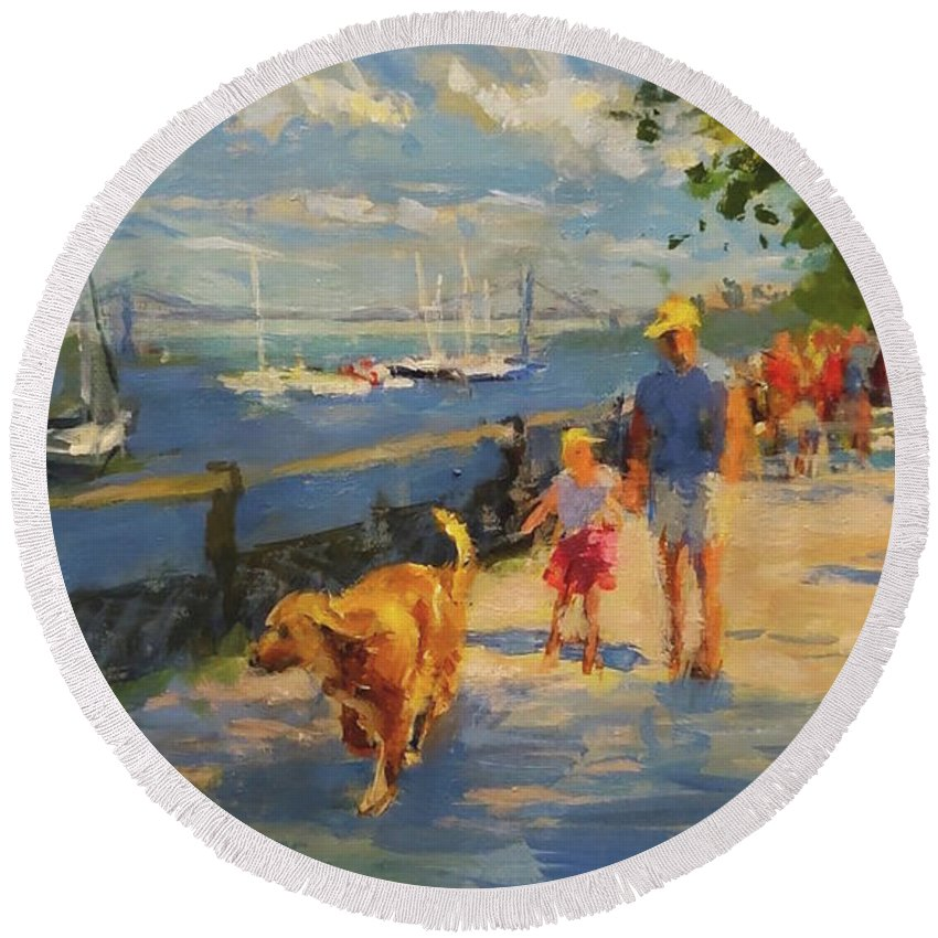 New York Round Beach Towel featuring the painting By The River, Sunday Morning by Peter Salwen