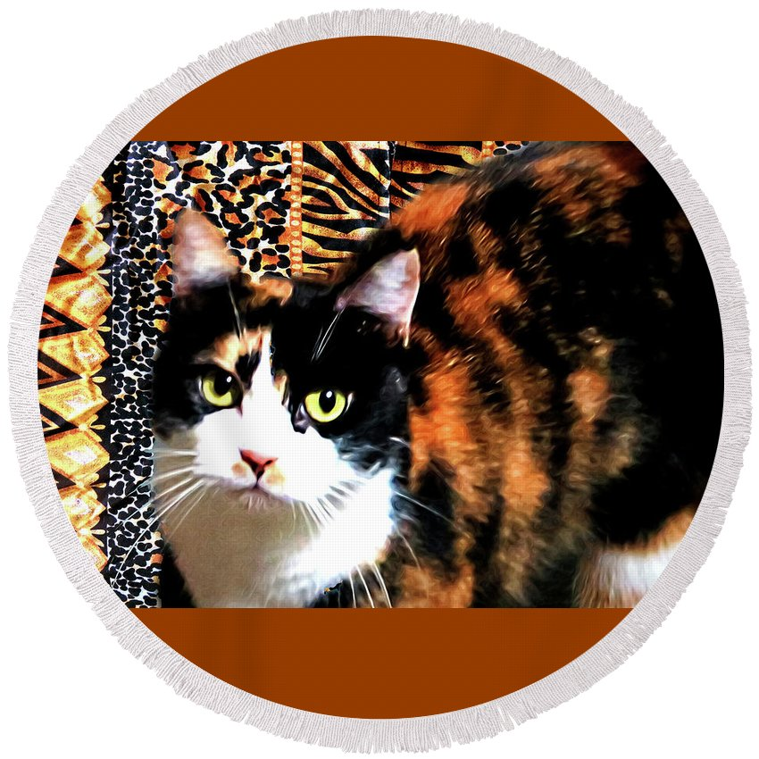 Cat Round Beach Towel featuring the digital art Calico by Lisa Yount