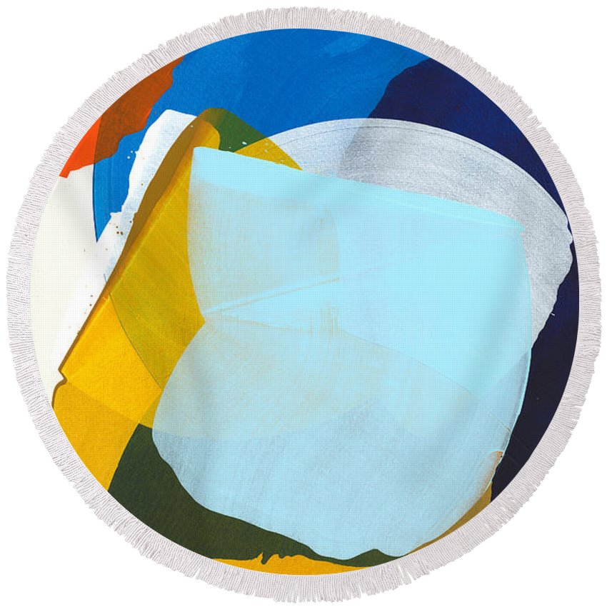 Abstract Round Beach Towel featuring the painting California 05 by Claire Desjardins