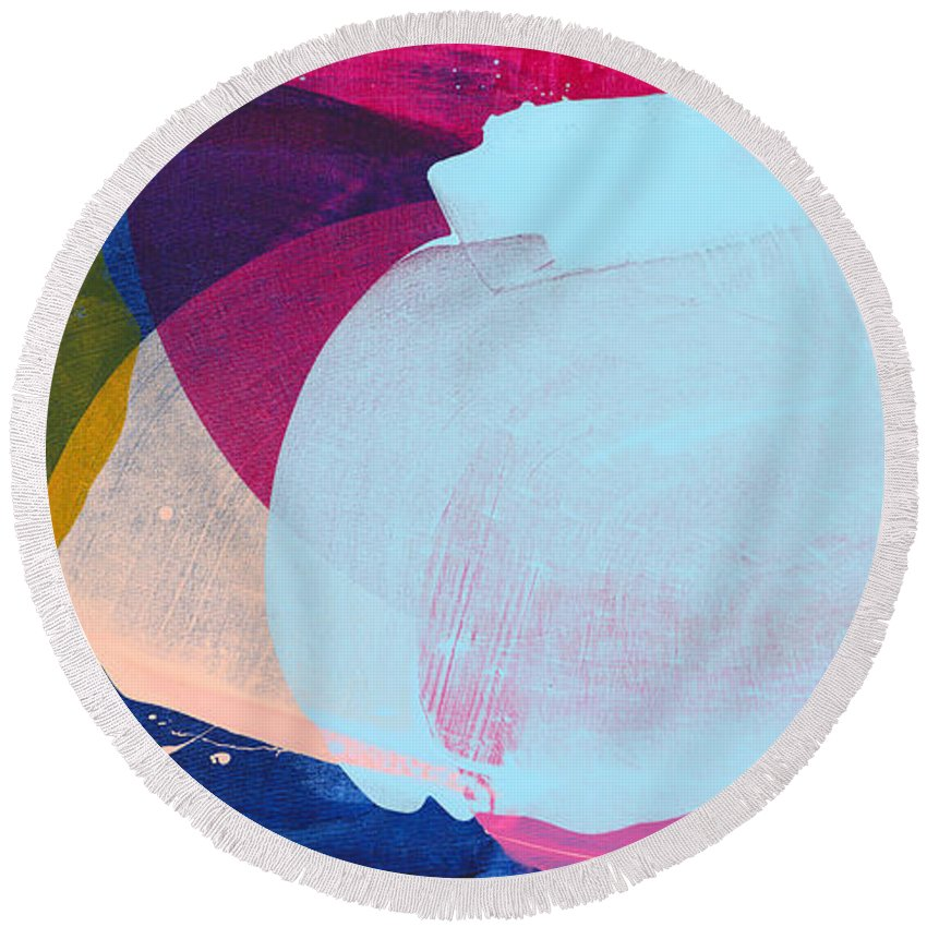 Abstract Round Beach Towel featuring the painting California 06 by Claire Desjardins