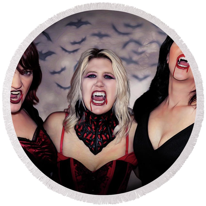 Vampire Round Beach Towel featuring the photograph Call Of The Vampires Women by Jon Volden