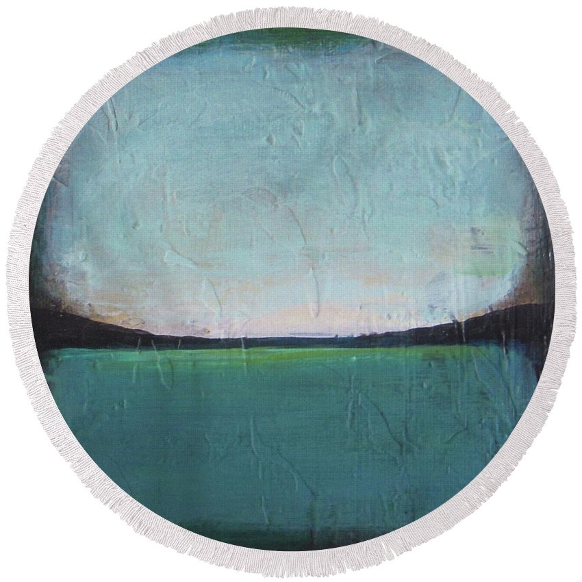 Ocean Round Beach Towel featuring the painting Calm Ocean 1 by Vesna Antic