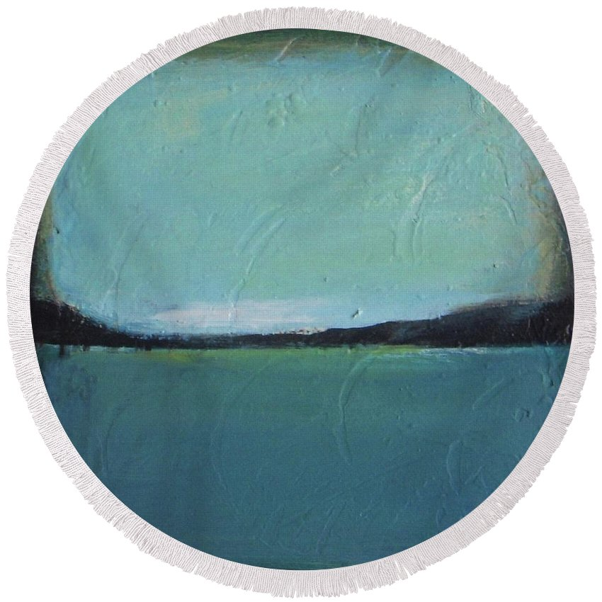 Ocean Round Beach Towel featuring the painting Calm Ocean 2 by Vesna Antic