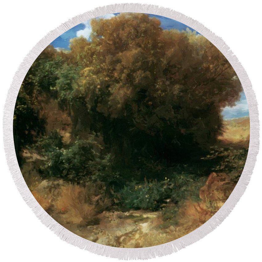 Campagna Round Beach Towel featuring the painting Campagna Landscape 1858 by Bocklin Arnold