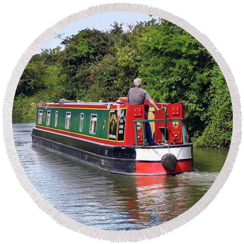 Canal Round Beach Towel featuring the photograph Canal Boat by Terri Waters