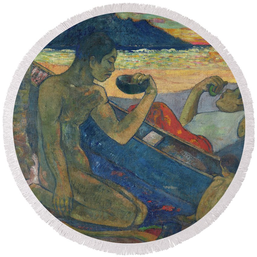 Paul Gauguin Round Beach Towel featuring the painting Canoe, Tahitian Family, 1896 by Paul Gauguin
