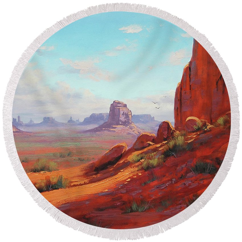 Canyonlands Round Beach Towel featuring the painting Canyonlands by Graham Gercken