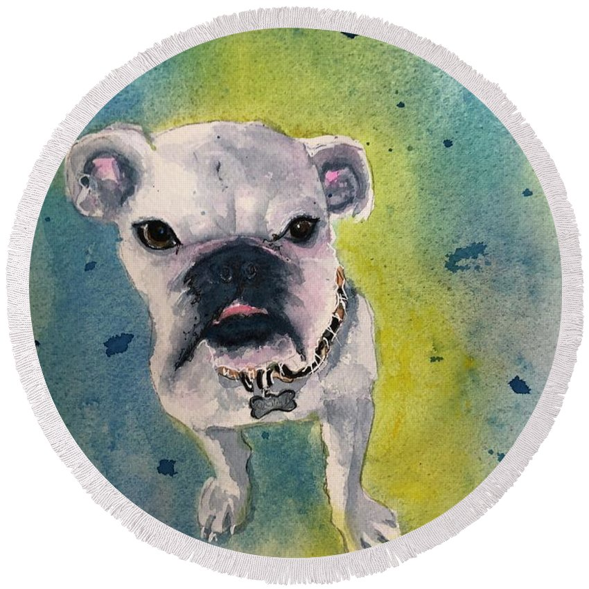 English Bulldog Round Beach Towel featuring the painting Captain by Midge Pippel