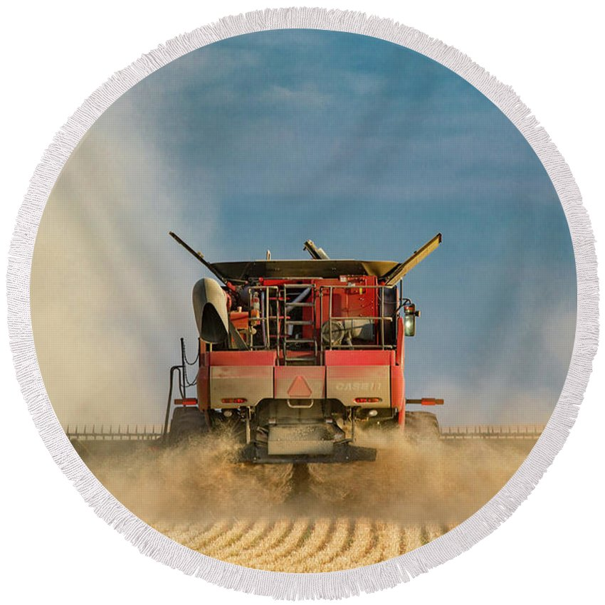 Case Ih Round Beach Towel featuring the photograph Case Ih From Behind by Todd Klassy