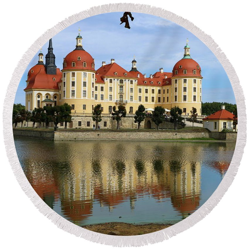Castle Round Beach Towel featuring the photograph Castle Moritzburg by Christiane Schulze Art And Photography