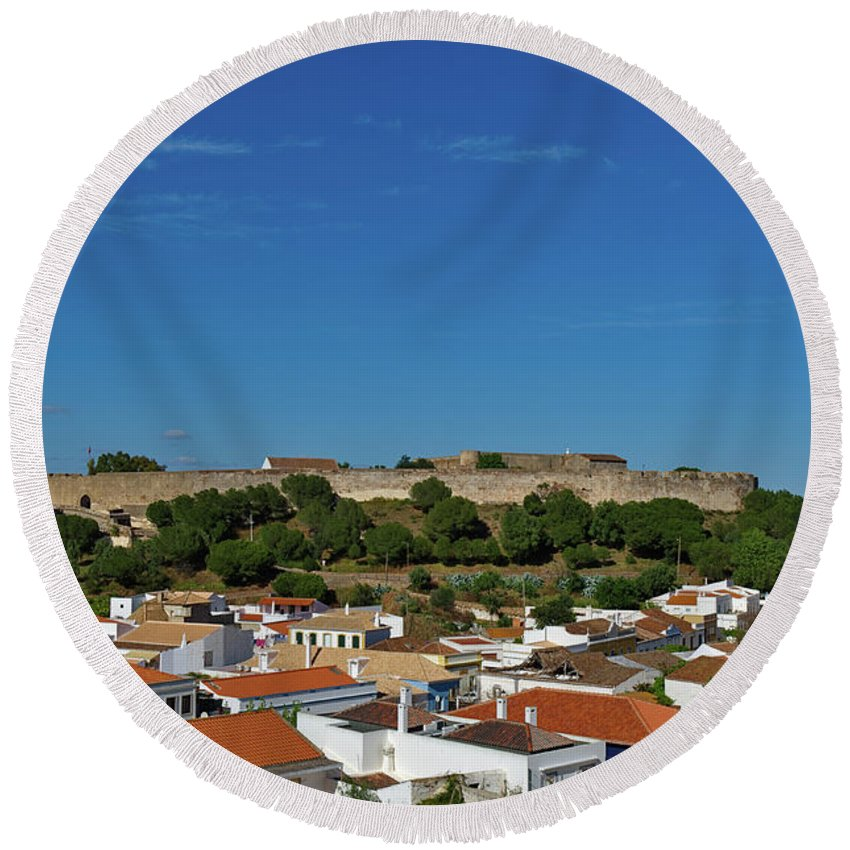 Castro Marim Round Beach Towel featuring the photograph Castro Marim Village And Medieval Castle by Angelo DeVal