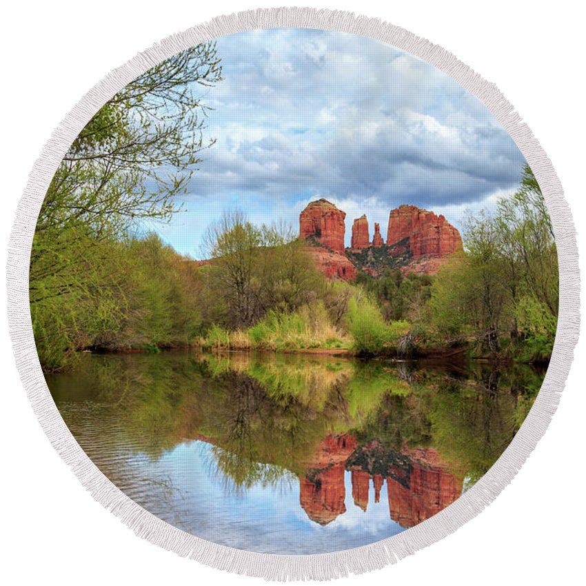 Cathedral Rock Round Beach Towel featuring the photograph Cathedral Rock Reflection by James Eddy
