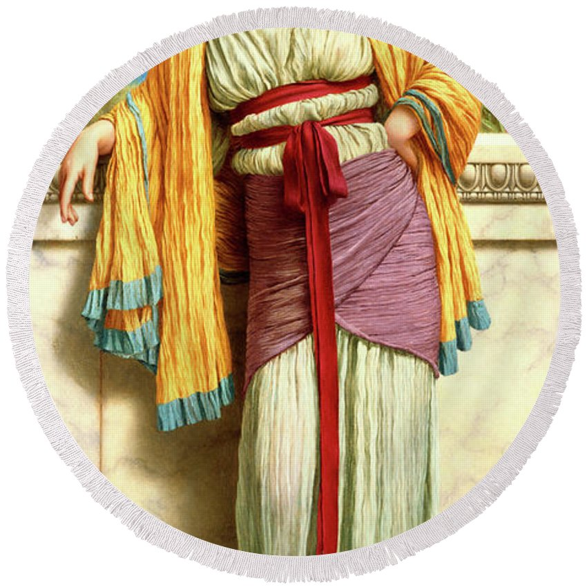 Cestilia Round Beach Towel featuring the painting Cestilia by John William Godward