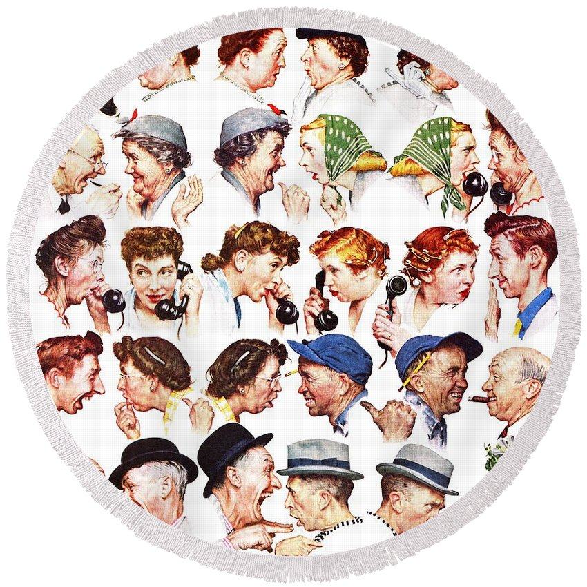 Gossiping Round Beach Towel featuring the drawing Chain Of Gossip by Norman Rockwell
